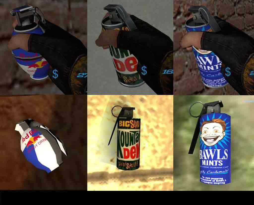 Скачать Mountian Dew, Bawls, and Red Bull Grenades для css бесплатно