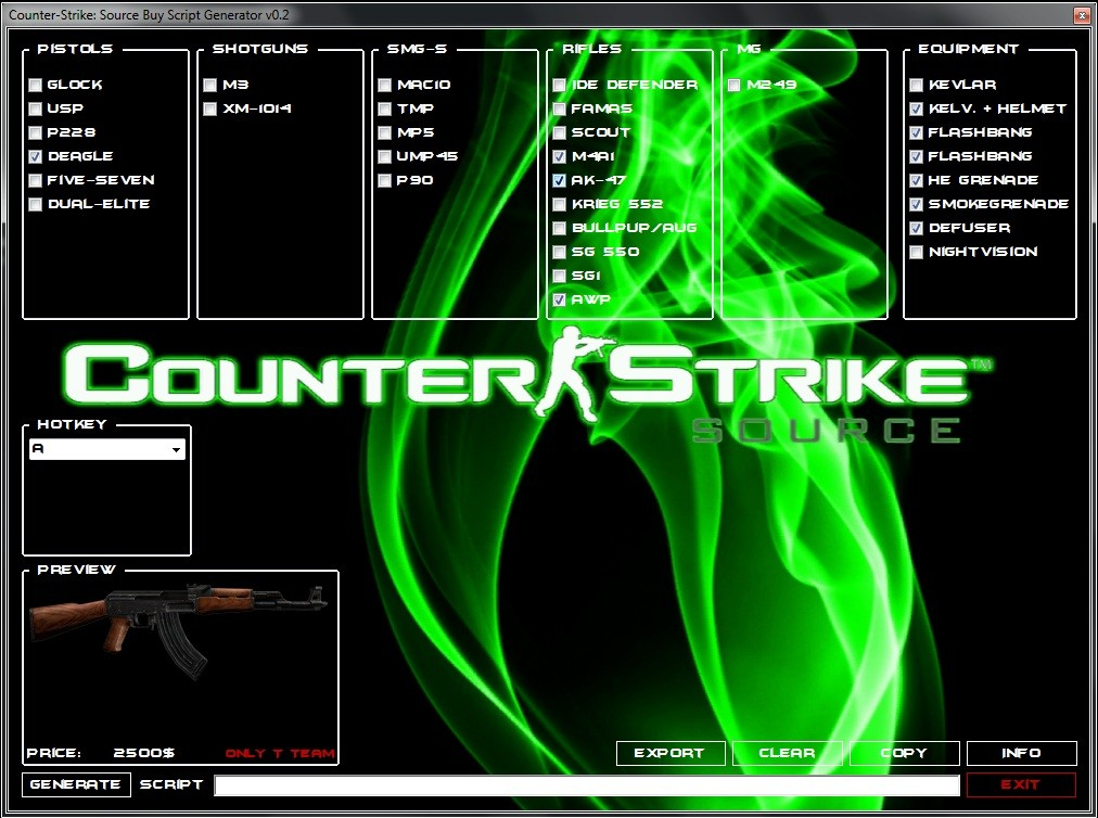 Скачать Counter-Strike: Source Buy Script Generator бесплатно